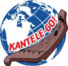 "Image of the globe, instrument Kantele, the inscription "" Kantele-GO!"""