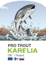 Project logo with EU, Finnish and Russian flags below a jumping cartoon brown trout